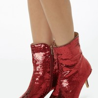Pointed Sequined Booties