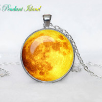 MOON PENDANT  Full Moon Necklace Galaxy Space  Grey Moon  Jewelry Necklace for men  Art Gifts for Her(P11H01V03)