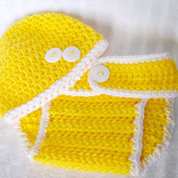 Yellow and White Super Soft Crochet Gender Neutral Baby Diaper Cover and Hat Set, Yellow Diaper Cover, Diaper Cover Set  - Photo Prop