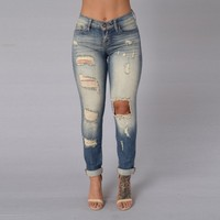Acid Wash Ripped High Waist Skinny Jeans