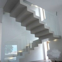 U-shaped self supporting Open staircase 700 by Interbau Suedtirol Treppen