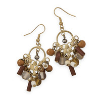 Tan Multibead Drop Fashion Earrings
