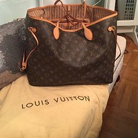 Louis Vuitton LV classic versatile large-capacity shopping bag mother bag two-piece