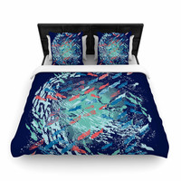 """Frederic Levy-Hadida """"Underwater Life - Blue"""" Blue Fish Woven Duvet Cover"""
