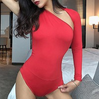 Hot style sexy one-shoulder skintight milk silk Onesuit