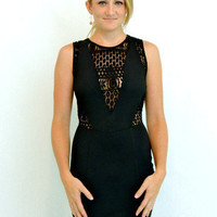 V cutout little black dress with lace - $45.00 | Daily Chic Dresses | International Shipping