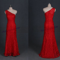2015 long red lace bridesmaid dresses affordable,floor length women dress for evening party,chic one shoulder prom gowns hot.