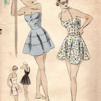 1940s Bathing Suit Vogue 6445 Sewing Pattern Two Piece Circle Skirt Halter Top Shorts Camisole Bust 32