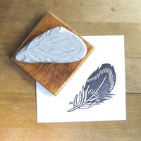 Striped Feather  Hand Carved Stamp by extase on Etsy