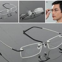 Rimless Glasses #G Rx Optical Eyeglasses Memory Titanium Spectacles Frame 8119