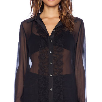 Equipment Gabby Lace Mix Blouse in Black