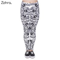 Zohra New Design Women Legins Mandala Black Printing Legging Woman Fashion High Waist Leggings