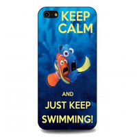 keep calm and just keep swimming For iphone 5 and 5s case