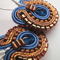 Cobalt Blue Earrings Copper and Blue Earrings Blue Earrings Soutache Earrings Blue Drop Earrings Surgical Steel Earring