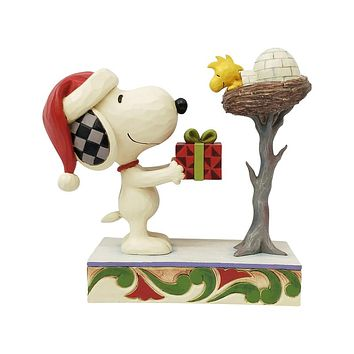 Jim Shore Snoopy giving Woodstock a Gift - 6006938