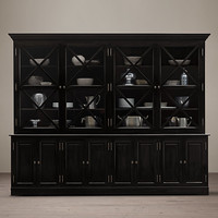 French Neoclassical Wide Glass Sideboard & Hutch