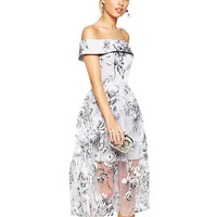 Floral Mesh Overlay Strapless A-Line Midi Dress