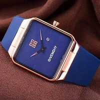 Alwayn Givenchy Watch Trending Square Gold Edge Women Men Lovers Watch Blue+Gold