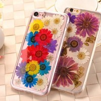 Dried Flower Clear Transparent Soft Back Phone Case Cover for iPhone 5 6 7 S SE