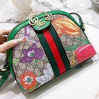 GUCCI Fashion New Floral More Letter Print Leather Shopping Leisure Shoulder Bag Crossbody Bag
