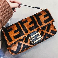 Fendi Fashion New More Letter Fur Shoulder Bag Crossbody Bag Handbag Women Coffee