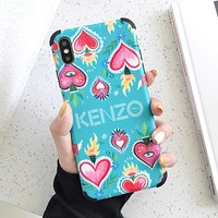 KENZO Fashion Print iPhone Phone Cover Case For iphone 6 6s 6plus 6s-plus 7 7plus iPhone X XR XS XS MAX Blue