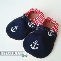 Soft Sole Baby Shoes, Anchors Baby Shoes, Organic Baby Booties, Baby Boy Shoes, Nautical Baby Booties, Crib Baby shoes, Made to order 0-24M
