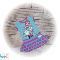 Girls approximate size 12 months Upcycled New Dr. Suess Cat in the Hat t-shirt Dress