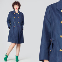 60s Navy Double Breasted Trench / Nautical Sailor Terlenka Coat / Retro Mod Large L Rain Coat
