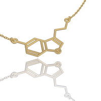 Serotonin necklace | 14k gold fill , chemistry jewelry| chemistry necklace| molecule necklace