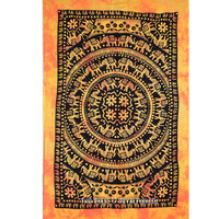 Twin Orange Indian Tie Dye Print Elephant Mandala Tapestry Wall Hanging Bedding on RoyalFurnish.com