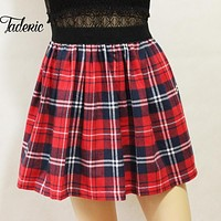 Jaderic Harajuku 2016 Women Fashion Autumn Winter high waist pleated skirt Wind Cosplay plaid skirt kawaii Female Skirts