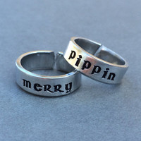 Merry and Pippin Lord of the Rings LOTR Best Friend Rings Couples Rings Hand Stamped Aluminum Ring - 2