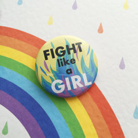 Fight Like A Girl Button Badge in Pastel Flames