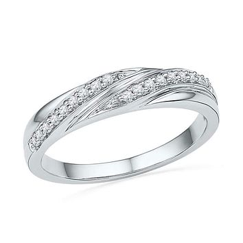 10kt White Gold Women's Round Diamond Simple Band Ring 1/10 Cttw - FREE Shipping (US/CAN)