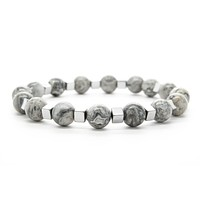 Gray Jasper Gemstones Beaded Bracelet for Men and Women