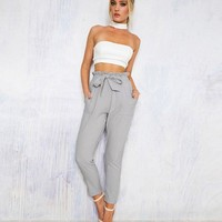 Chiffon high waist harem pants Women stringyselvedge summer style casual pants female black trousers