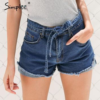 Simplee Denim shorts women buttons Elastic bow fringe blue high waist shorts Casual 2017 pockets sexy mini short jeans shorts