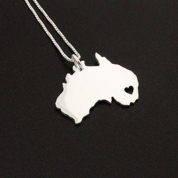 Australia necklace sterling silver Australia Country necklace with heart comes with Box style chain