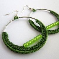 silver earrings, round earrings, circle earrings, beads earrings, green hoops,dangle earrings,crochet earrings,crochet hoops,earrings unique