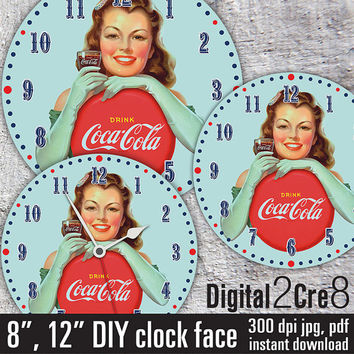 "Coca Cola Clock Face - 12"" and 8"" Digital Downloads - DIY - Printable Image - Iron On Transfer - Wall Decor - Crafts - jpg+pdf"