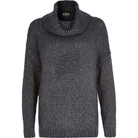 River Island Womens Navy chunky roll neck sweater