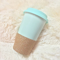 Ready To Ship Rose Gold Glitter Dipped, Custom Design, Personalized Mint Ceramic To-Go Tumbler