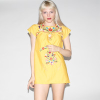 Vintage Yellow 1960s Embroidered Floral Mexican Tunic Dress