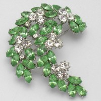 CROWN TRIFARI Vintage Peridot Rhinestone Spray Brooch