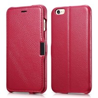 iPhone 6 Plus case, Benuo [Litchi Pattern Series] [Genuine Leather] Folio Flip Grain Leather Case [Stand Function] [Card Holder] with Magnetic Closure for iPhone 6 Plus 5.5 inch (Rose Red)