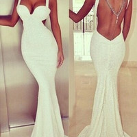 White Plunging Neckline Backless Fishtail Maxi Dress