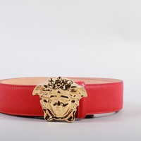 New Versace Red Saffiano Leather 3D Medusa Palazzo Belt 90/36