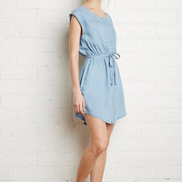 Snap-Button Denim Dress