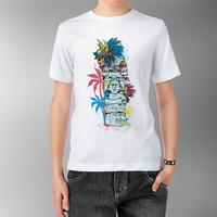 Aztec Native American Indian totem stone  scull Goddess in jungle White Fitted 100% cotton T shirt t-shirt tee